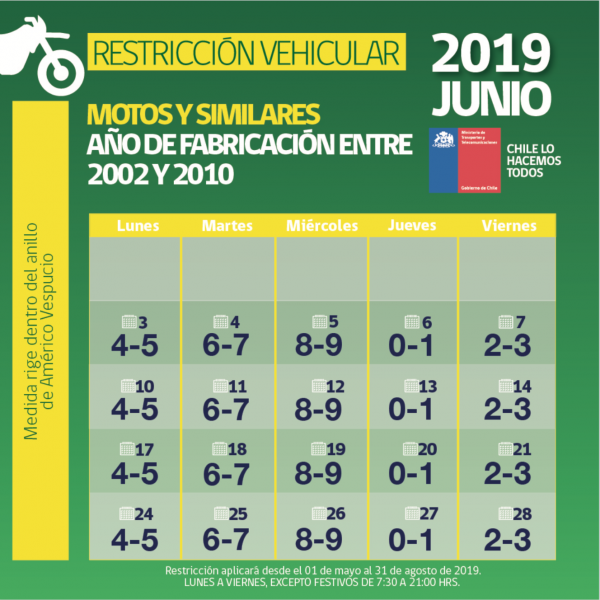 Calendario Chile 2019.Restriccion Vehicular Permanente En Region Metropolitana 2019
